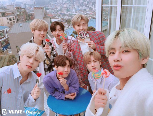Tags: K-Pop, Bangtan Boys, V (Kim Taehyung), Rap Monster, Park Jimin, J-Hope, Suga, Jungkook, Jin, Blue Shirt, Candy, Checkered Shirt
