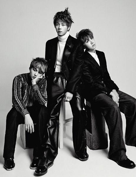 Tags: K-Pop, Bangtan Boys, Jin, J-Hope, Suga, Arm Support, Shoes, Black Footwear, Full Body, Monochrome, Black Pants, Hand On Head
