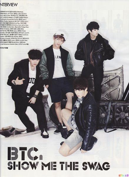 Tags: K-Pop, Bangtan Boys, Jungkook, V (Kim Taehyung), Park Jimin, Suga, Kneeling, Shorts, Black Pants, Hat, Full Body, Looking Away