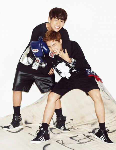 Tags: K-Pop, Bangtan Boys, Park Jimin, V (Kim Taehyung), Leather Shorts, Shorts, Bare Legs, Grin, Gloves, Sneakers, Black Footwear, Eyes Closed