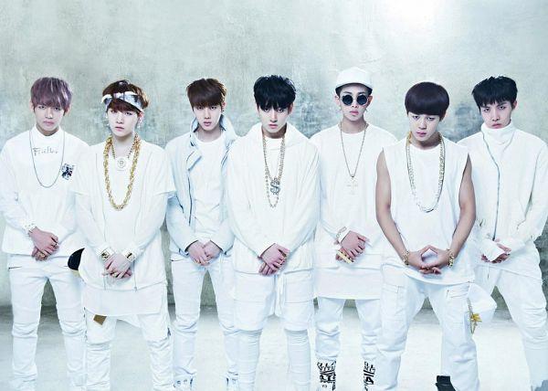 Tags: K-Pop, Bangtan Boys, J-Hope, Suga, Jungkook, Jin, V (Kim Taehyung), Rap Monster, Park Jimin, Necklace, Gray Background, Bandana