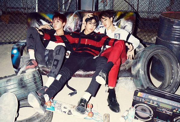Tags: K-Pop, Bangtan Boys, Park Jimin, J-Hope, Jungkook, Socks, Suspenders, Black Jacket, Jeans, Three Males, Hand In Hair, Bracelet