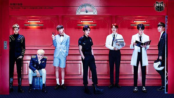 Tags: K-Pop, Bangtan Boys, DOPE, Jin, V (Kim Taehyung), Rap Monster, Park Jimin, J-Hope, Suga, Jungkook, Reading, Black Pants