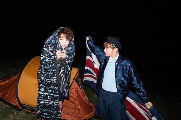 Tags: K-Pop, Bangtan Boys, Jungkook, J-Hope, Grin, Tent, Night, Hat, Flag, Duo, Two Males, The Most Beautiful Moment in Life: Young Forever