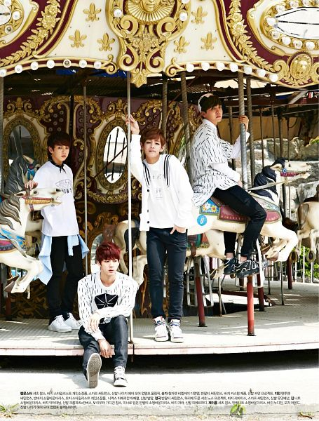 Tags: K-Pop, Bangtan Boys, Jungkook, V (Kim Taehyung), J-Hope, Jin, Red Hair, White Jacket, Black Pants, Hat, Hand In Pocket, Carousel