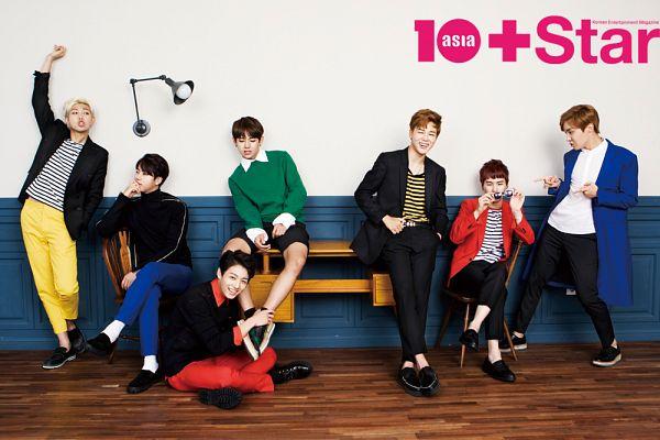Tags: K-Pop, Bangtan Boys, Jin, V (Kim Taehyung), Rap Monster, Park Jimin, J-Hope, Suga, Jungkook, Belt, Red Jacket, Blonde Hair