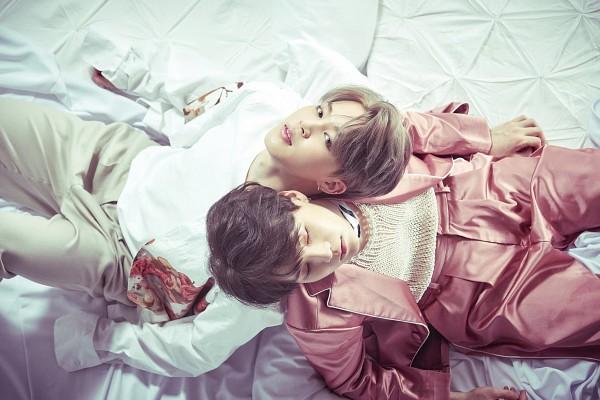 Tags: K-Pop, Bangtan Boys, Park Jimin, Suga, Laying Down, Duo, Back To Back, Pink Pants, White Pants, From Above, Holding Close, Pants