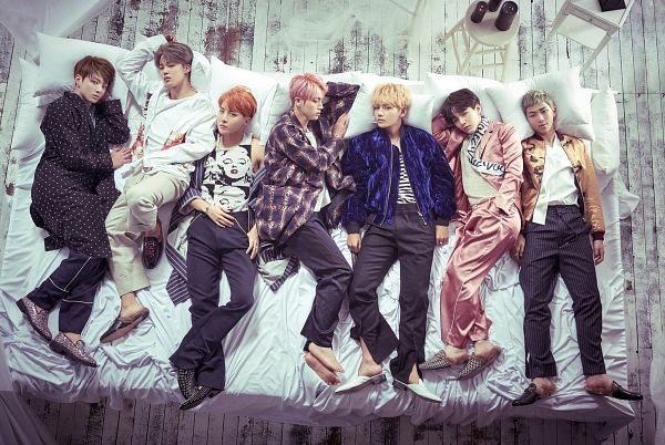 Tags: K-Pop, Bangtan Boys, J-Hope, Suga, Jungkook, Jin, V (Kim Taehyung), Rap Monster, Park Jimin, Checkered, Bed, Laying On Side