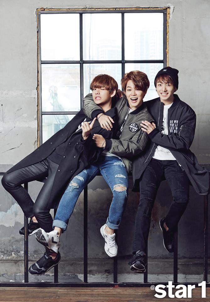 Tags: K-Pop, Bangtan Boys, V (Kim Taehyung), Park Jimin, Jungkook, Wink, Bracelet, Sitting, Pants, Arm Around Shoulder, Hug, Holding Close