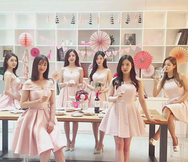 Tags: K-Pop, Berry Good, Daye, Johyun, Seoyul, Gowoon, Taeha, Kang Sehyung, Full Group, Pink Dress, White Flower, Red Flower