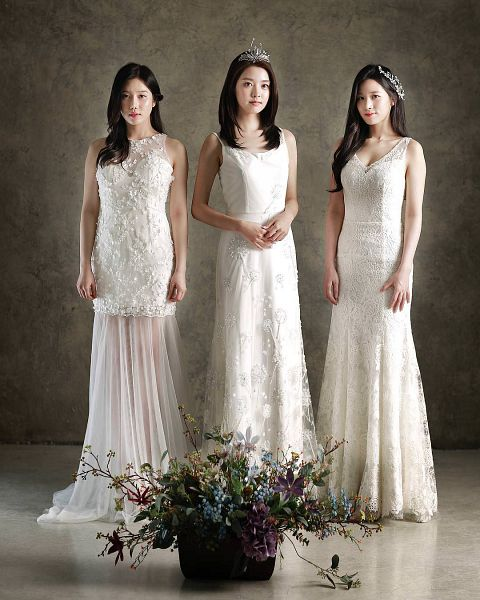 Tags: K-Pop, Berry Good, Johyun, Taeha, Kang Sehyung, Crown, Full Body, Blue Flower, Flower, Headdress, Purple Flower, White Dress
