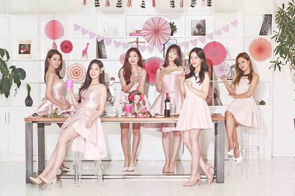 Tags: K-Pop, Berry Good, Kang Sehyung, Daye, Johyun, Seoyul, Gowoon, Taeha, White Dress, Wine, High Heels, Pink Flower