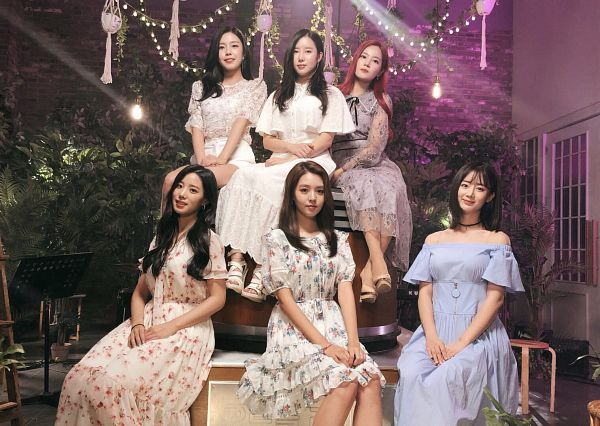Tags: K-Pop, Berry Good, Kang Sehyung, Daye, Johyun, Seoyul, Gowoon, Taeha, White Dress, Floral Print, Full Group, Table