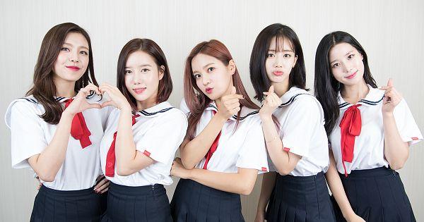 Tags: K-Pop, Berry Good, Seoyul, Johyun, Gowoon, Taeha, Daye, Red Hair, Group, Short Sleeves, School Uniform, Bow