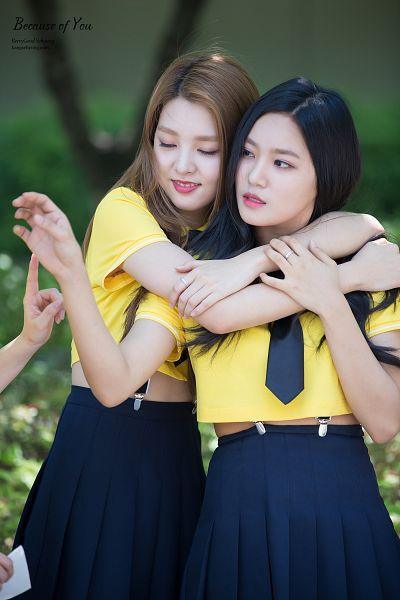 Tags: K-Pop, Berry Good, Kang Sehyung, Seoyul, Hug, Yellow Shirt, Black Eyes, Skirt, Hug From Behind, Black Skirt, Two Girls, Eyes Closed