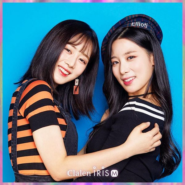 Tags: K-Pop, Berry Good, Daye, Johyun, Two Girls, Blue Background, Duo, Contact Lenses, Striped Shirt, Choker, Medium Hair, Striped