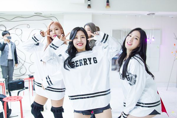 Tags: K-Pop, Berry Good, Gowoon, Johyun, Seoyul, Black Shorts, V Gesture, Grin, Three Girls, Red Hair, Standing, Sweater