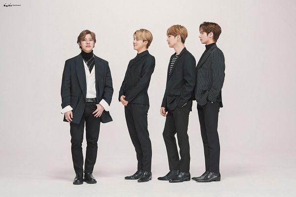 Tags: K-Pop, TXT, BTS, Lee Hyun, Park Jimin, Taehyun (TXT), Suga, Quartet, Four Males, Glasses, Black Pants, Belt