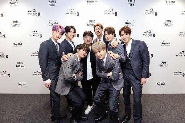 Tags: K-Pop, BTS, Jungkook, Jin, V (Kim Taehyung), Rap Monster, Park Jimin, Bang Si-hyuk, J-Hope, Suga, Gray Outerwear, Blonde Hair