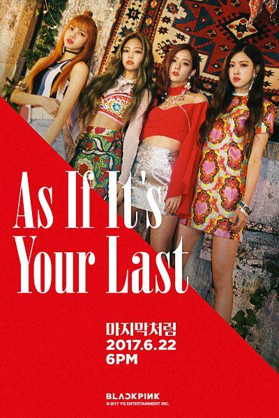 Tags: YG Entertainment, K-Pop, Black Pink, As If It's Your Last, Jennie Kim, Rosé (singer), Kim Jisoo, Lisa, Blunt Bangs, Bare Legs, Bracelet, Short Sleeves