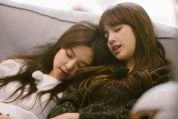 Tags: YG Entertainment, K-Pop, Black Pink, Jennie Kim, Lisa, Two Girls, Blunt Bangs, Duo, Head On Shoulder, Sleeping, Sitting On Couch, Eyes Closed