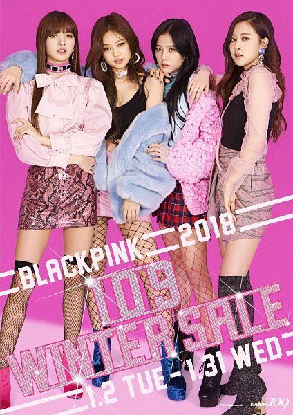Tags: YG Entertainment, K-Pop, Black Pink, Jennie Kim, Rosé (singer), Kim Jisoo, Lisa, High Heeled Boots, Text: Artist Name, Skirt, Pink Shirt, Checkered