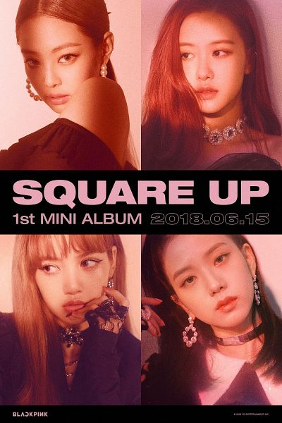 Tags: K-Pop, Black Pink, Lisa, Jennie Kim, Rosé (singer), Kim Jisoo, Collage, Finger To Lips, Necklace, Text: Artist Name, English Text, Text: Album Name