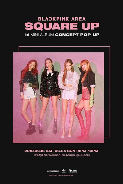 Tags: K-Pop, Black Pink, Choker, Text: Company Name, Shorts, Pink Footwear, Blunt Bangs, Full Group, Thigh Boots, Collage, Crossed Arms, Text: Album Name