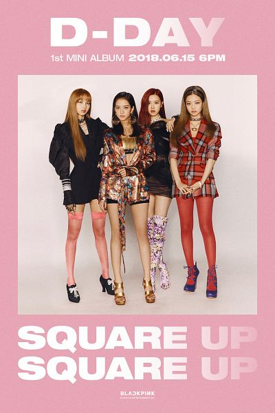 Tags: K-Pop, Black Pink, High Heeled Boots, Text: Company Name, Blunt Bangs, Text: Album Name, High Heels, Checkered, Quartet, Checkered Dress, Boots, Crossed Arms