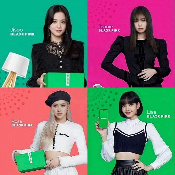 Tags: K-Pop, Black Pink, Jennie Kim, Rosé (singer), Kim Jisoo, Lisa, Quartet, Four Girls, SHIBUYA109, Poster, Scan