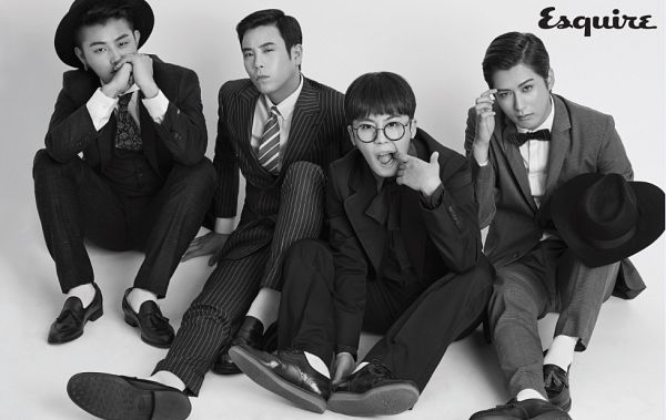 Tags: K-Pop, Block B, Taeil, Jaehyo, U-kwon, P.O, Covering Mouth, Bow Tie, Finger To Lips, Text: Magazine Name, Monochrome, Black Headwear