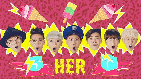Tags: K-Pop, Block B, Taeil, Kyung, Jaehyo, U-kwon, B-bomb, P.O, Zico, Sweets, Text: Album Name, Animal Print