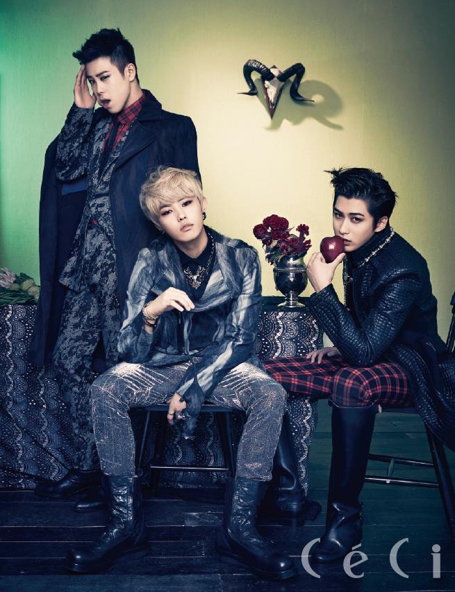 Tags: K-Pop, Block B, U-kwon, P.O, Jaehyo, Hand On Head, Fruits, Hand On Cheek, Chair, Multi-colored Background, Checkered, Apple