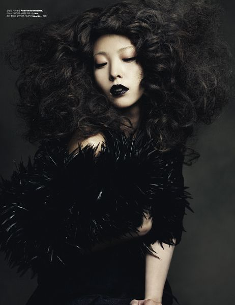 Tags: K-Pop, BoA, Eyes Half Closed, Black Outfit, Dark Background, Black Dress, Korean Text, Wavy Hair, Looking Down, Android/iPhone Wallpaper, W Korea, Magazine Scan