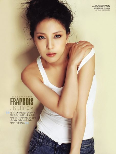 Tags: K-Pop, BoA, Korean Text, White Background, Hand On Shoulder, Ring, Jeans, Tank Top, Light Background, Android/iPhone Wallpaper, Magazine Scan, Allure