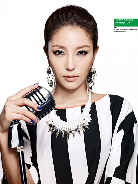 Tags: K-Pop, BoA, Short Sleeves, Ponytail, Light Background, Striped, Striped Shirt, White Background, Nail Polish, Holding Object, Necklace, Make Up