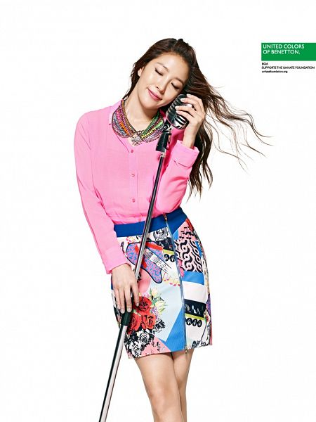 Tags: K-Pop, BoA, Necklace, Holding Object, Skirt, Light Background, Bare Legs, White Background, Pink Shirt, Eyes Closed