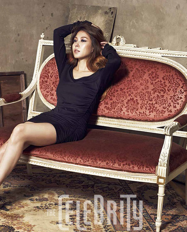 Tags: K-Pop, BoA, Black Outfit, Sitting On Couch, Hand In Hair, Text: Magazine Name, Black Dress, The Celebrity