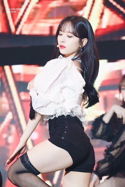 Tags: K-Pop, Cosmic Girls, Bona, Fishnets, Eyes Half Closed, Butt, Leg Up, Looking Down, Shorts, Bare Legs, Pantyhose, Suggestive