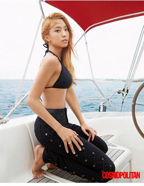 Tags: K-Pop, Sistar, Sistar19, Bora, Black Pants, Bikini, Barefoot, Text: Magazine Name, Kneeling, Boat, Suggestive, Jeans