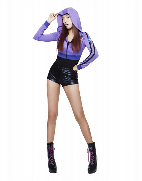 Tags: K-Pop, Sistar, Bora, Light Background, Purple Jacket, High Heeled Boots, White Background, Leather Shorts, Black Footwear, Hand On Hip, Purple Outerwear, Black Shorts