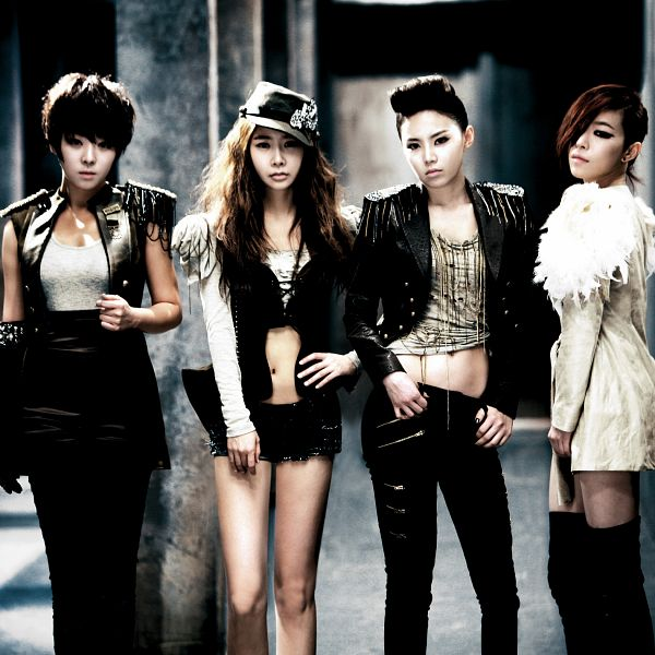 Tags: K-Pop, Brown Eyed Girls, Ga-In, Narsha, Miryo, Jea, Bare Legs, Leather Jacket, Black Skirt, Medium Hair, Full Group, Skirt