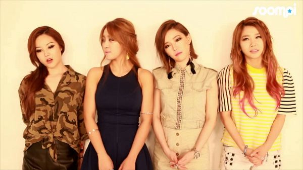 Tags: K-Pop, Brown Eyed Girls, Ga-In, Narsha, Miryo, Jea, Looking Away, Striped Shirt, Quartet, White Skirt, Full Group, Medium Hair