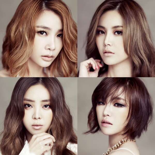 Tags: K-Pop, Brown Eyed Girls, Jea, Ga-In, Narsha, Miryo, Four Girls, Full Group, Medium Hair, Gray Background, Necklace, Quartet
