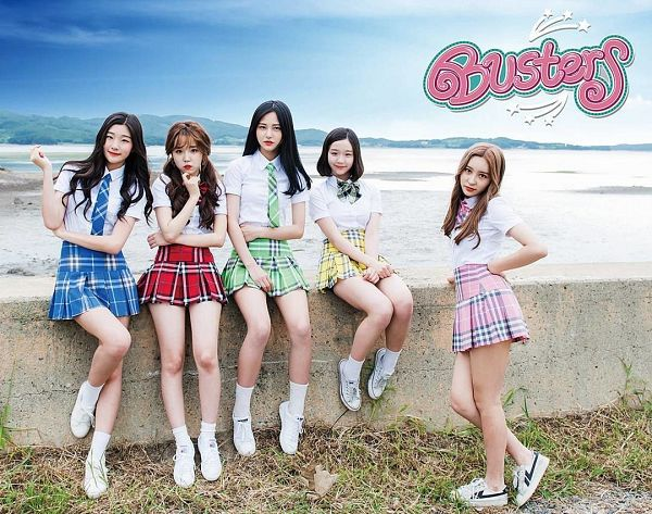 Tags: JTG Entertainment, K-Pop, Busters, Myeong Hyeongseo, Kim Chaeyeon, Jung Jisu, Kim Minji (Busters), Park Soyeon, Sitting, Water, Red Skirt, Grass
