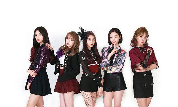 Tags: K-Pop, Busters, Grapes (Song), Kim Chaeyeon, Myeong Hyeongseo, Cha Minjeong, Jung Jisu, Kim Minji (Busters), Skirt, Quintet, White Background, Five Girls