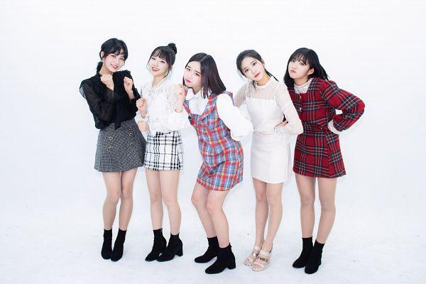 Tags: K-Pop, Busters, Kim Chaeyeon, Myeong Hyeongseo, Cha Minjeong, Jung Jisu, Kim Minji (Busters), Red Dress, Hair Up, Sandals, Group, Light Background