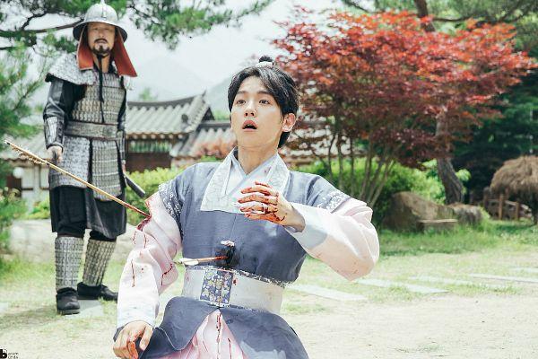 Tags: K-Drama, K-Pop, EXO, Byun Baekhyun, Hair Up, Arrow, Tree, Single Bun, Armor, Plant, Archery, Traditional Clothes