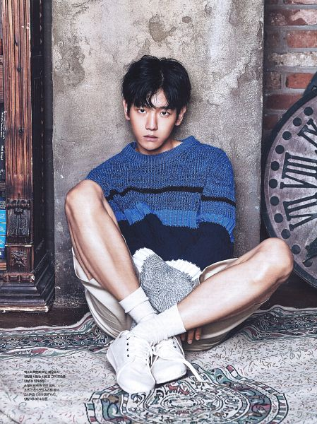 Tags: K-Pop, EXO, Byun Baekhyun, Shorts, Blue Shirt, Carpet, White Shorts, Android/iPhone Wallpaper, Cosmopolitan, Magazine Scan