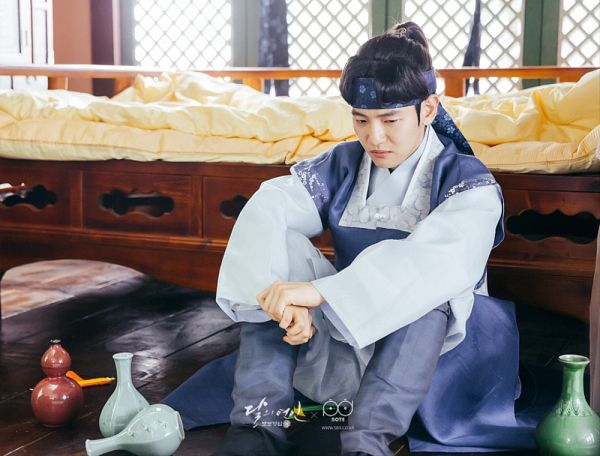 Tags: K-Pop, K-Drama, EXO, Byun Baekhyun, Hairband, Bed, Blue Outfit, Traditional Clothes, Hair Up, Angry, Korean Clothes, Ponytail